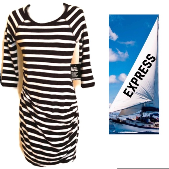 Express Dresses & Skirts - Black White Dress EXPRESS Striped Ruched NWT
